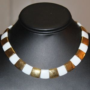 VTG White Gold Plate MONET Choker Necklace ND3